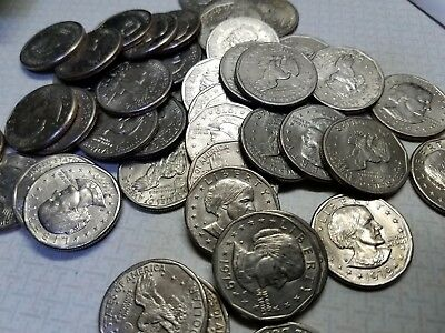 Random Lot of 50 Susan B Anthony Dollar Coins, ($50) Circulated Great Condition