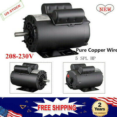 5 HP SPL 3450 Base RPM Air Compressor 60 Hz Single Phase Electric Motor 5/8 in