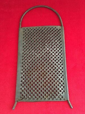 Primitive Antique Punched Cheese Spice Grater, Steel Handle