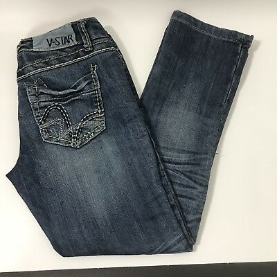 e3878309d0708 Vanilla Star Jeans Junior Size 1 Blue Jeans Embroidered Pockets Distressed