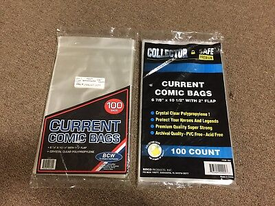 200 NEW MIXED LOT BCW CURRENT MODERN COMIC BAGS BOARDS polybags COLLECTOR SAFE