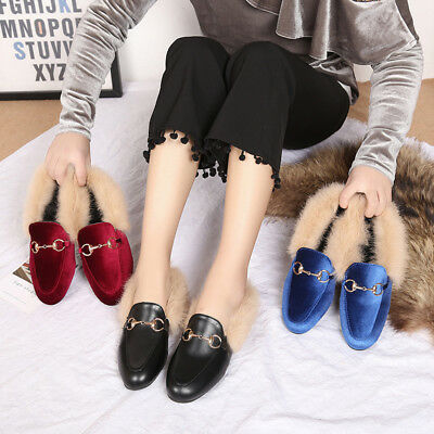 3c1244b6dca76 Womens Slippers PU Leather Horsebit Loafers Slip On Fur Lined Shoes Slides  Mules