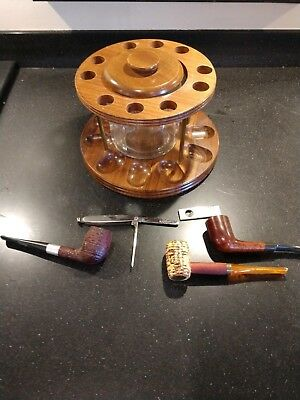 Vintage Walnut Pipe Rack w/ Glass Humidor - 3 Pipes, Cigar Cutter, Pipe Cleaner
