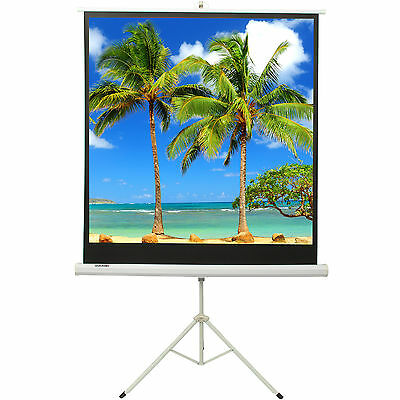 125x125cm Projector Movie Tripod Projection Screen Portable Pull-Up Matte Cinema