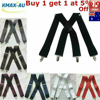 50mm Extra Wide Mens Suspenders 4 clips Adjustable Elastic Belt Braces Trousers