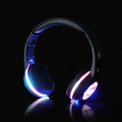Casque LED Glowing Bluetooth Pliable Sans Fil Portable Sur Le Mic écouteur  3.5mm 6706d8432e09