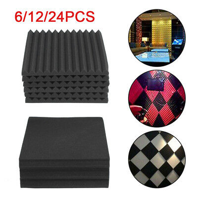 New 6Pcs Acoustic Wall Panels Sound Proofing Foam Pads Studio Treatments Tool T