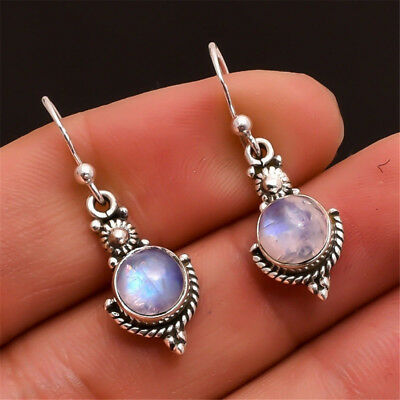 Birthday Gift Vintage Ear Studs Silver Plated Dangle Earring Rainbow Moonstone