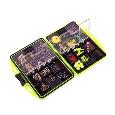 Fishing Tackle Box Carp Safety Lead Clips Hooks Swivel Corn Tubing Rigs Tackle