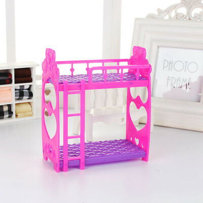 Uk_ Doll House Miniature Plastic Bed Double-Deck Furniture For Barbie Doll Faddi