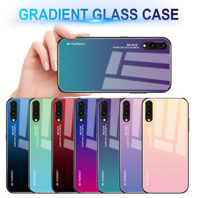 For Huawei Mate20 P20 Pro Lite Luxury Gradient Tempered GLASS Back Case Cover