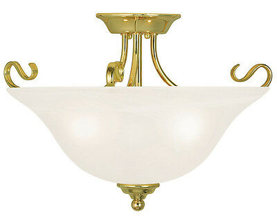 Livex Coronado 3 Light 19 inch Polished Brass Flush Mount Ceiling Light 6130-02