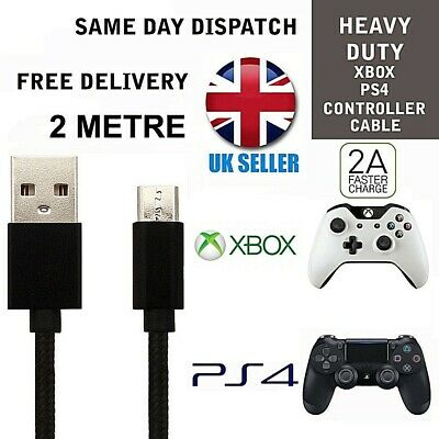 PS4 Black Charger Cable 2m for Dualshock 4 controllers Micro USB Charging lead