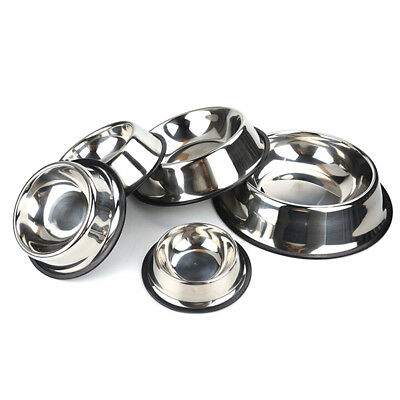 Non Slip Stainless Steel Cat Puppy Dog Pet Bowl Dish Water Food Feed Anti-Skid