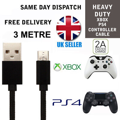 3M Black Charging Charger Cable For PS4 Dualshock 4 controller Micro USB charge