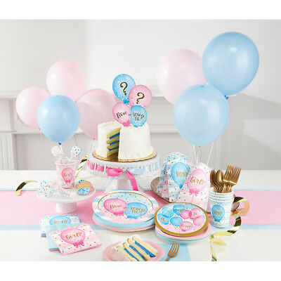 Boy Girl Gender Reveal Baby Shower Party Supplies Tableware Decoration Pink Blue