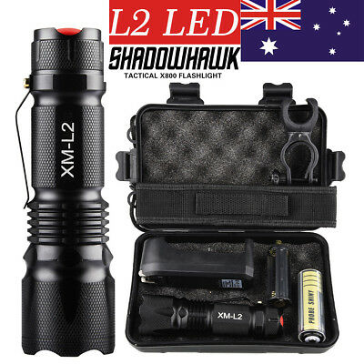 20000LM X800 SHADOWHAWK LED FLASHLIGHT RECHARGEABLE TACTICAL TORCH 1x BATTERY