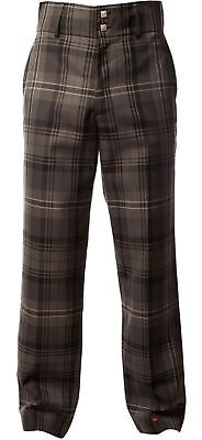 "Traditional Scottish Men's Trouser Trews In Hamilton Grey Tartan 32"" Regular"