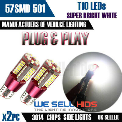 2x T10 501 W5W 57 smd LED Error Free Canbus Bulbs Pure Bright White Cree Audi VW