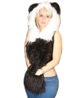 Cute Fluffy Furry Camo Panda Bear Hooded Scarf With Ears Clubbing Rave Party