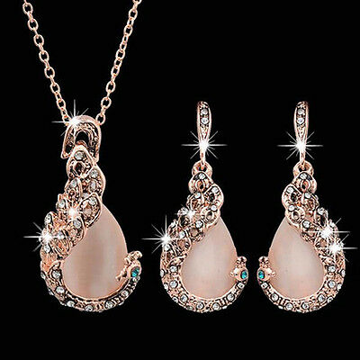 UK_ Elegant Women's Peacock Rhinestone Pendant Necklace Earrings Jewelry Set Che