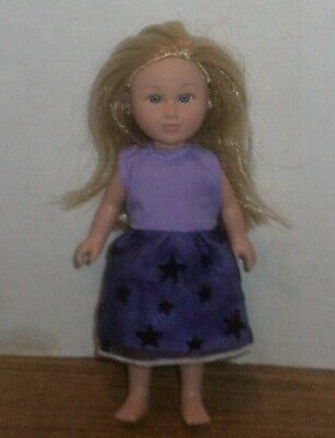 "6/6.5"" Doll Clothes-fit Mini American Girl My Life-Party Dress-Purple Stars"
