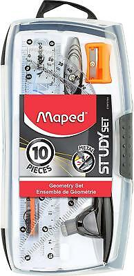 Maped Study Geometry 10 Piece Set, includes: 2 Metal Study Compasses, 2 Triangle