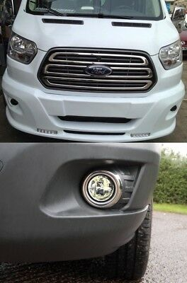 CHROME FOG LAMP RIM COVER 2PCS S.STEEL FOR FORD TRANSIT MK8 2014 ONWARDS