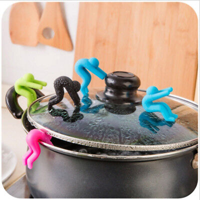 Uk_ Lc_ 2 Pcs Cartoon Anti Soup Overflow Kitchen Gadget Silicone Pot Lid Holder