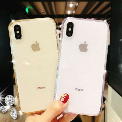 Bling Diamond Clear Clear Rubber Soft Case Cover For iPhone XS MAX XR 8 7 6 Plus