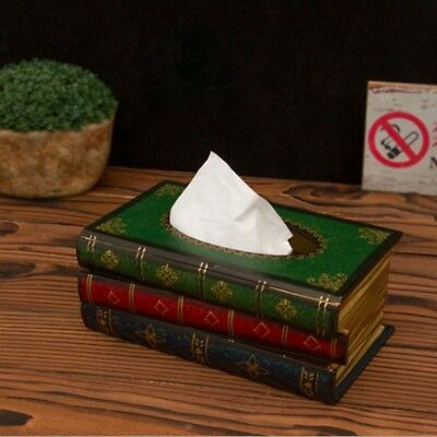 Wooden Tissue Box Pumping Paper Cover Case Retro Style Book Shape Napkin Holder
