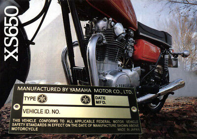 YAMAHA VIN PLATE for RD350 XS650 TX500 RD200 RS125 XS-1 TY250 FRAME