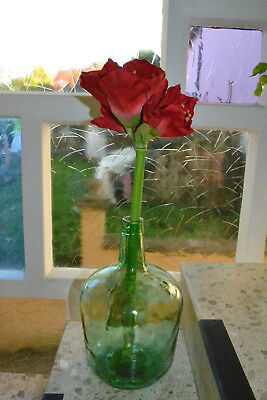 """Viresa"", 5 Liters  Demijohn Wine Bottle Old  Green Glass Weinballon bodenvase"