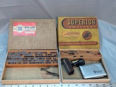 2 Rubber Stamp Kits. Superior Swiftset & Base Lock Rubber Type Company