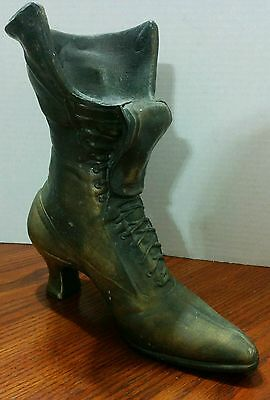 Vintage Large Heavy Brass Cast Life Size Victorian Ladies Boot Doorstop/display.