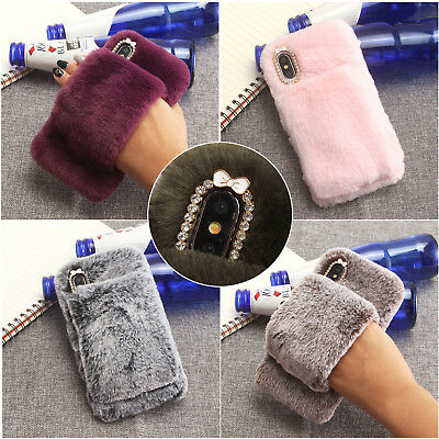 Soft Warm Fluffy Fur Mittens Crystal Phone Case Cover For Samsung J6 J8 J7 A6 A8