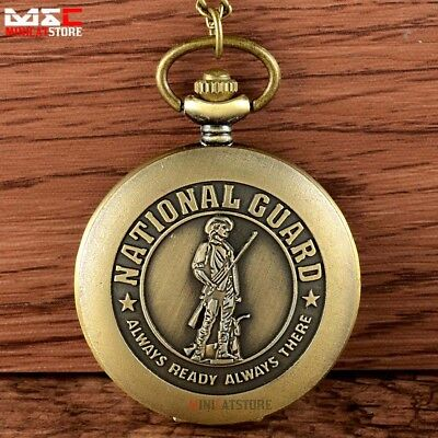 Bronze Army National Guard Vintage Pocket Watch Quartz Necklace Pendant New Gift