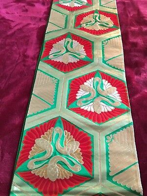 Striking Extra Long Textile Sash (Obi?) Red,green,silver With Gold Threads.