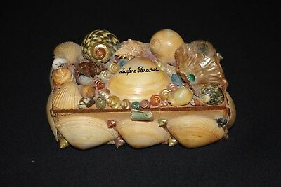 vintage shell art SURFERS PARADISE souvenir jewellery trinket box wood maireener