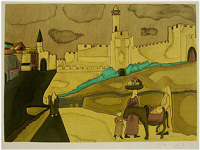 SIGNED Color LITHOGRAPH ART Judaica OLD JERUSALEM WALLS Bible DAVID TOWER Israel