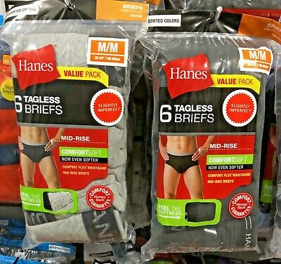 Hanes Men's Briefs 12 Pack Comfort-soft Waistband Tagless Colors S,M,L,XL,2X,3X