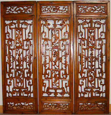 Antique carved Chinese screens, fir, 1800s