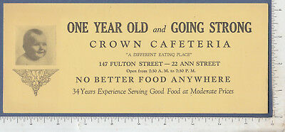 B292 Crown Cafeteria 147 Fulton St., NYC advertising blotter baby picture