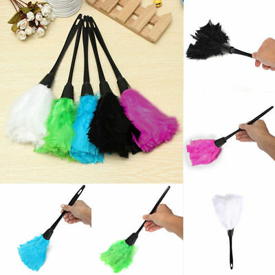 Home Office Keyboard Clean Anti Static Turkey Feather Duster Cleaner Brush tool_