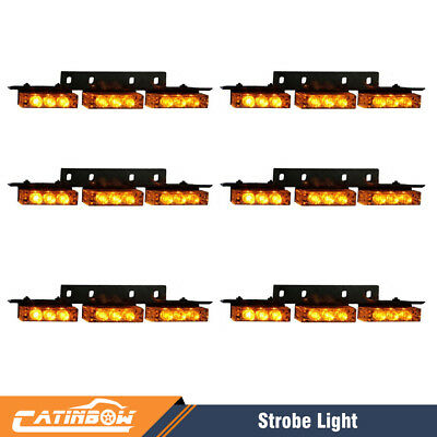 Amber/Yellow 54 LED Emergency Warning Strobe Lights Bars Car Dash Grille Tow US