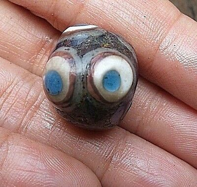 Ancient Compound Roman Medieval STRATIFIED  Blue Eye Islamic Glass Bead