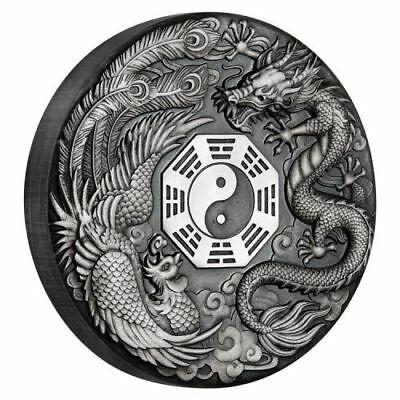 Dragon and Phoenix 2019 2oz Silver Antiqued Coin- The Perth Mint