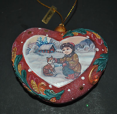 New DeBrekht Christmas Winter HEARTFUL Ornament HEART Boy Cat House Hand painted