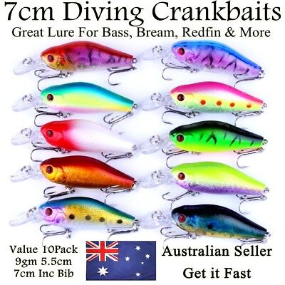 10 Redfin & Bream Fishing Lures, Yellowbelly, Flathead, Bass, Perch, Trout, 7cm