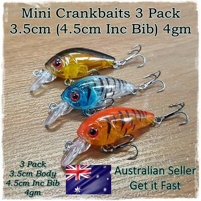 3 Fishing Lures Bream Bass Trout Redfin Perch Cod Flathead Whiting Tackle 3.5cm
